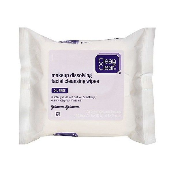 Clean & Clear Makeup Dissolving Facial Cleansing Wipes-  Ct ($4.79) ❤ liked on Polyvore featuring beauty products, skincare and face care