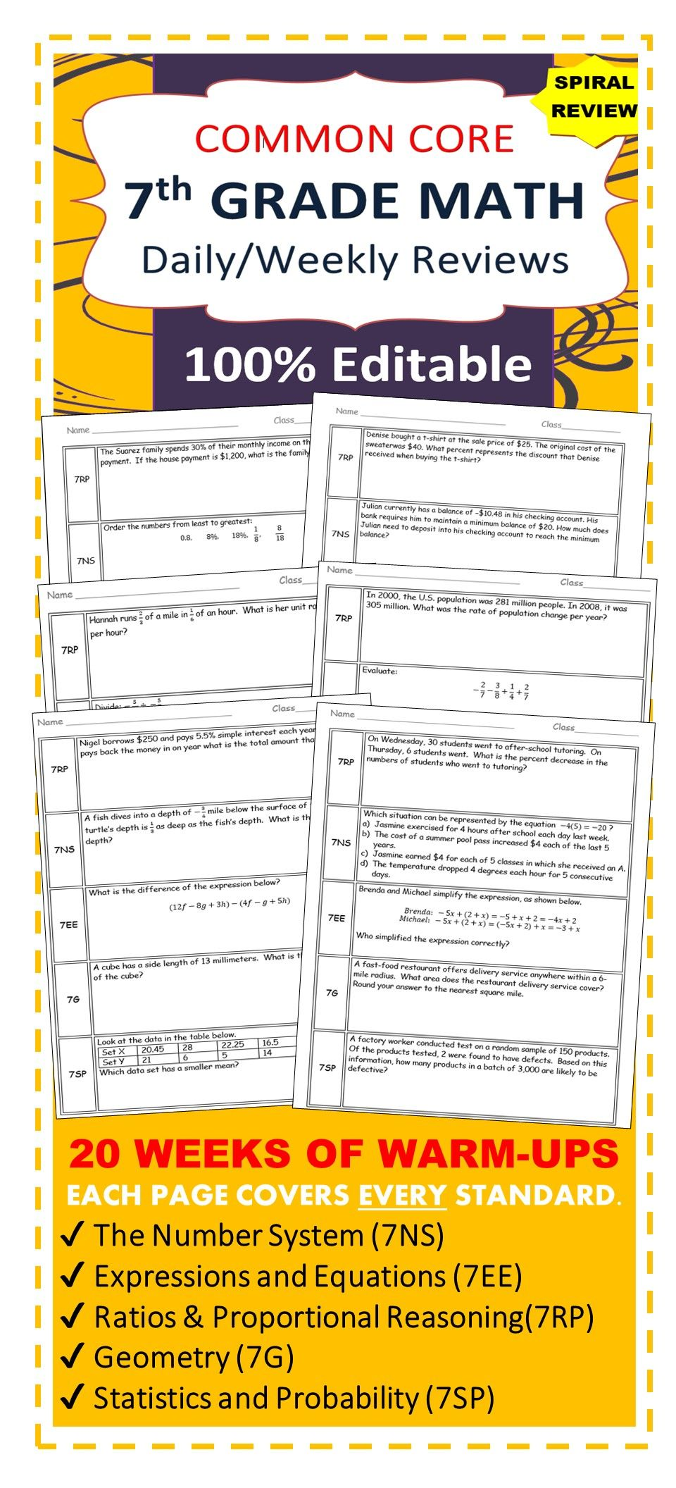 7th Grade Daily Weekly Spiral Math Review Common Core