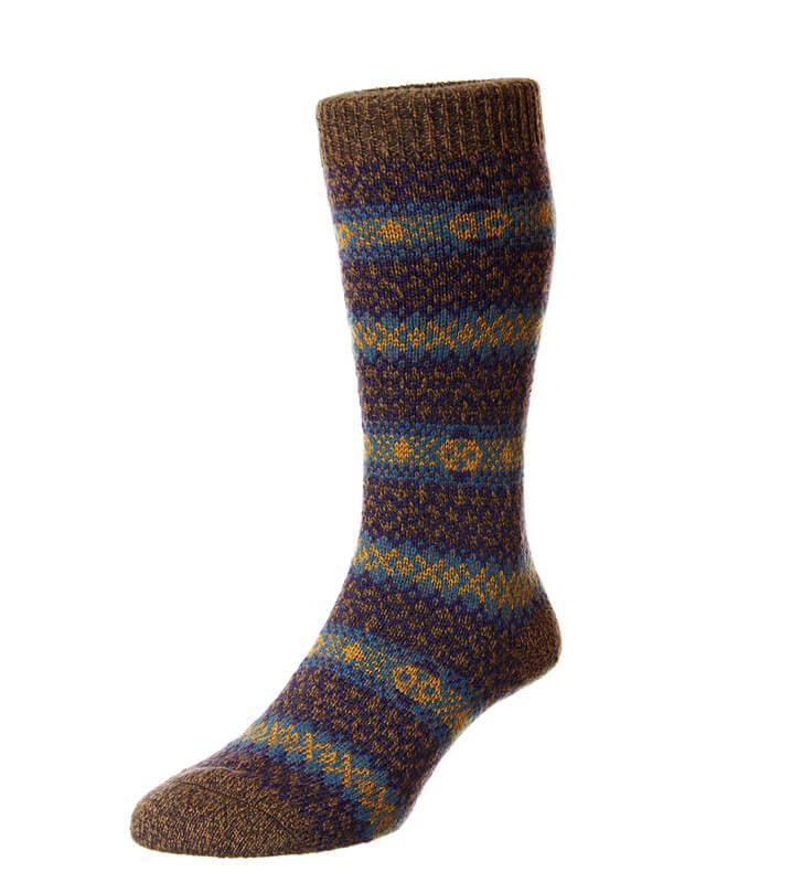 Men's warm chunky knit striped wool socks in natural colour ...