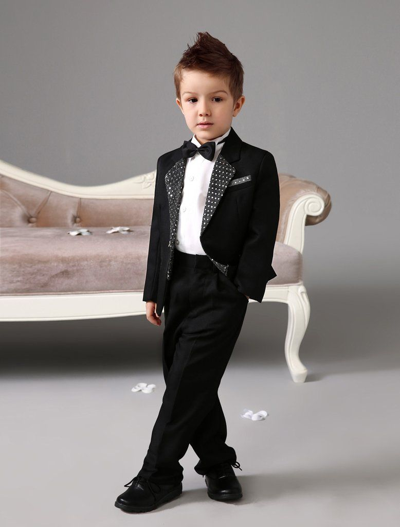 5fd37bef16d571 Boys Four Piece Luxurious Formal Black Suit  Ring Bearer Suit Kids Tuxedo  With Black Bow Tie Boys Outfit