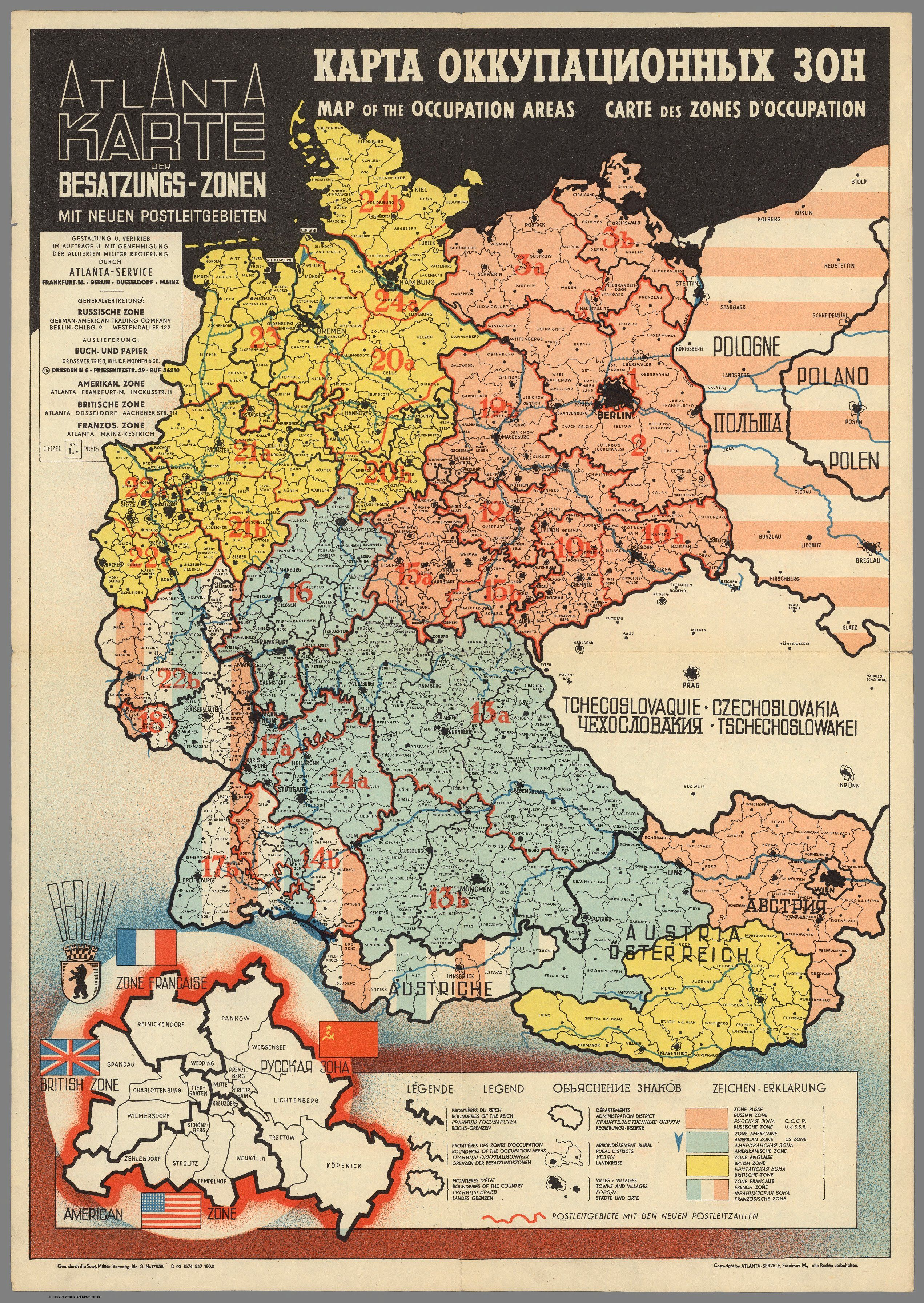 Occupation Zones in Germany in 1946   Térképek   Map, Germany ww2 ...