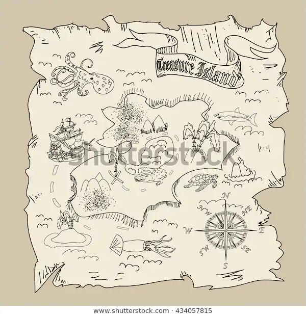 Ilustración de stock sobre Treasure Island Map Kids