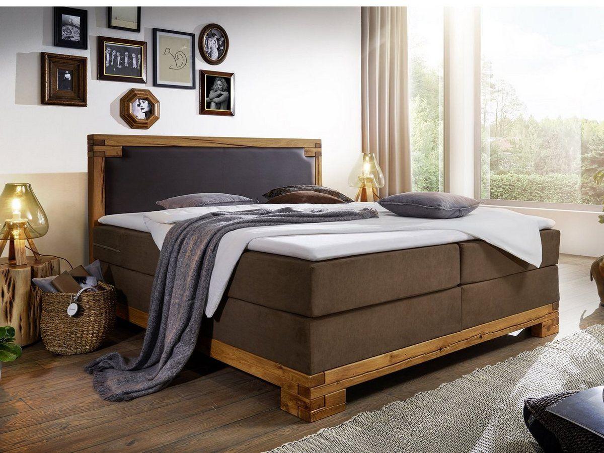 Bett mit Lattenrost und Matratze aus Flachgewebe massiv