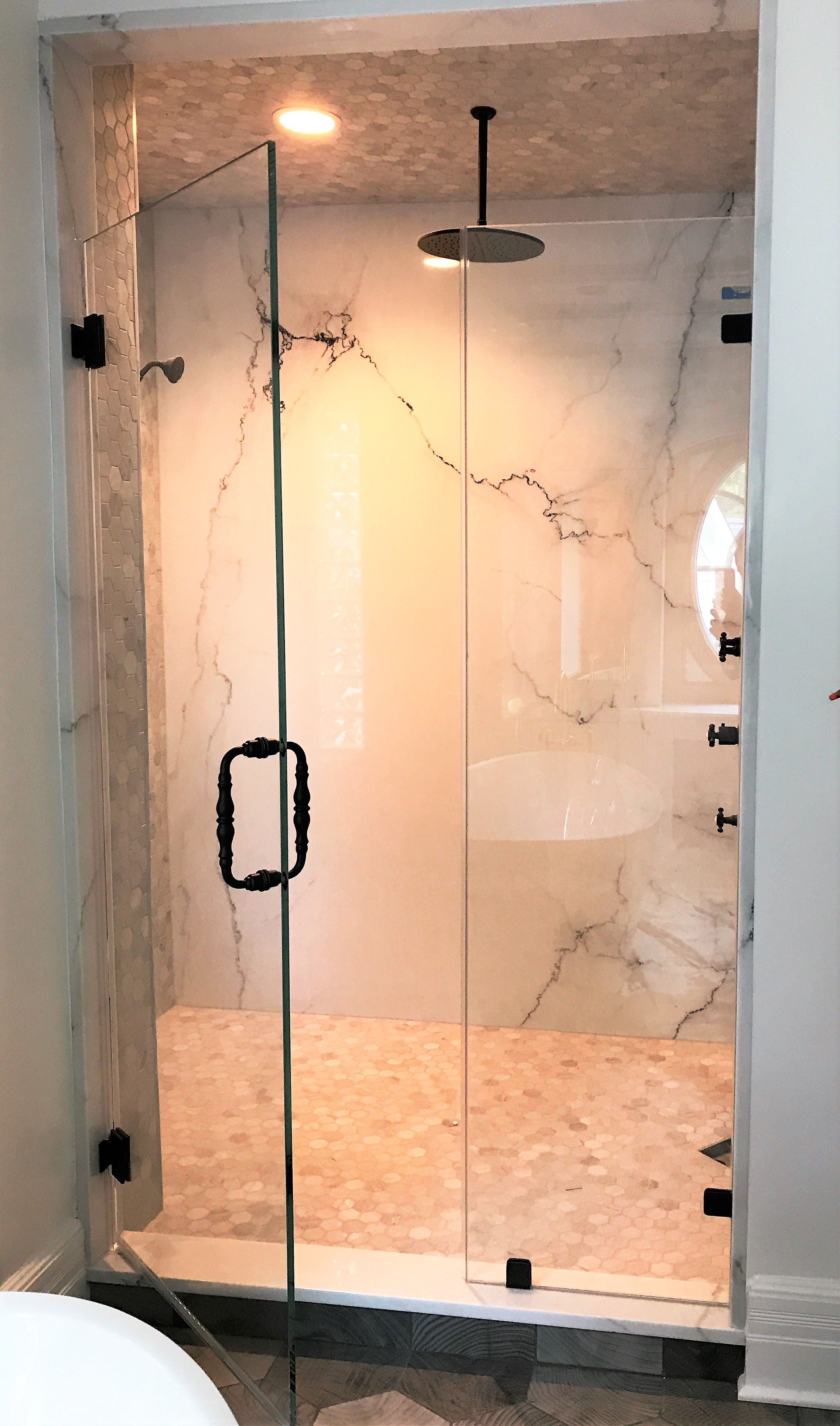 Frameless Door And Panel With Wall Mounted Hinges And All Hardware In Oil Rubbed Bronze Glass Shower Enclosures Frameless Shower Doors Glass Shower