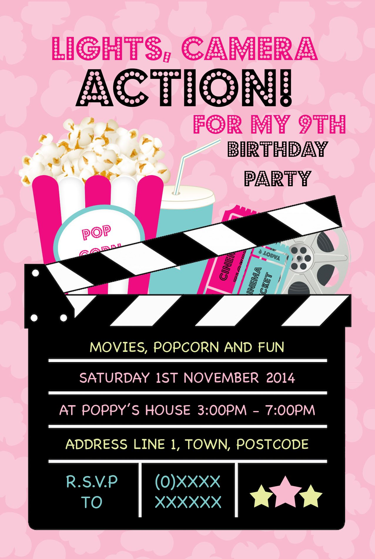Cinema Birthday Invitation (front) designed by me at Nic\'s Designs ...