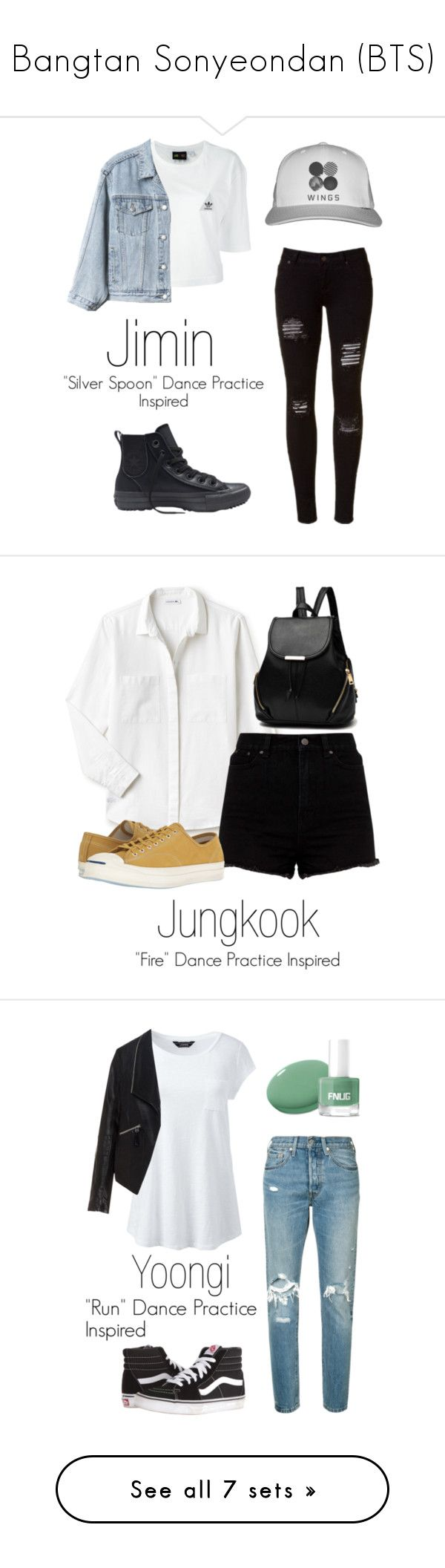 """Bangtan Sonyeondan (BTS)"" by mochimchimus on Polyvore featuring bts, adidas, Gap, Converse, Lacoste, Lands' End, Levi's, Zizzi, Vans and Old Navy"