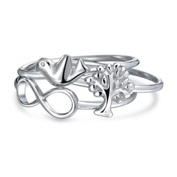 Bling Jewelry Nautical Starfish Anchor Ship Wheel Stackable Sterling Silver Midi Ring Set xzF3B