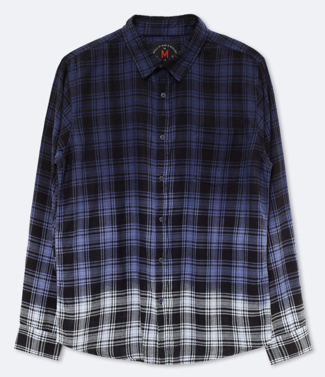59cdf24455eb1 Camisa masculina Manga longa Em xadrez Degradê Marca  Blue Steel Tecido   tricoline Composição  100% algodão Modelo veste tamanho  M Veja outras  opções de ...