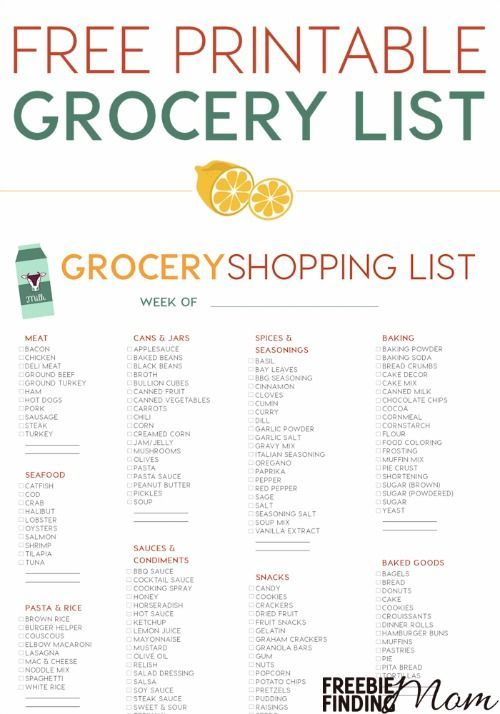 comprehensive grocery list