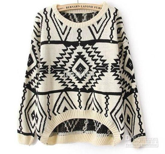 East Knitting Long Sleeve Oversized Sweaters for Women Aztec ...