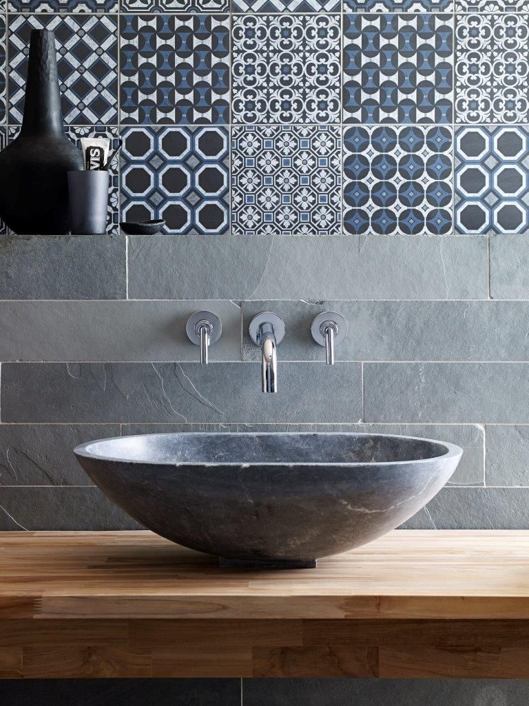 Bluestone Honed Marble Venus Basin with Baroque Black/Blue patterned ...