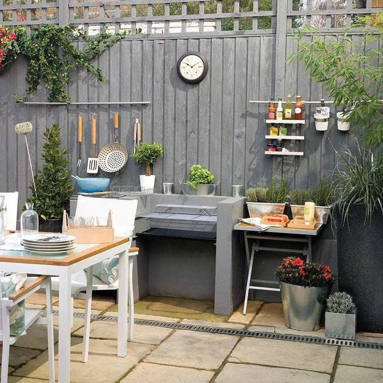 Piante da giardino in vaso e rampicanti, arredamento da esterno con ...