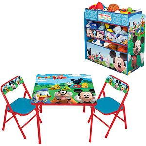 Disney Mickey Mouse Activity Table & Chairs Set and Multi-Bin ...