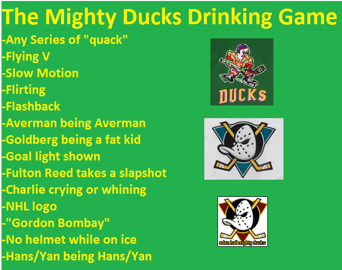 The Mighty Ducks Drinking Game Drinking Games Music Book Children S Films