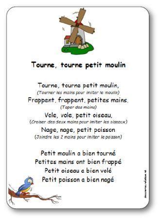 Comptine D Un Autre été Filme Paroles De La Comptine Tourne Petit Moulin Tourne Tourne Petit