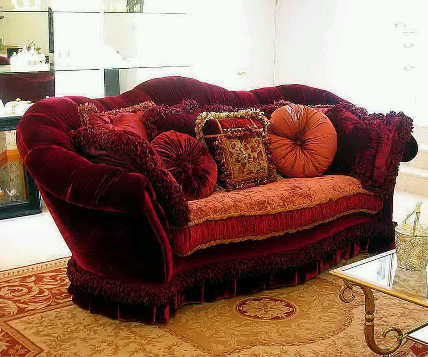 maroon color sofa decoration with cushions home things. Black Bedroom Furniture Sets. Home Design Ideas