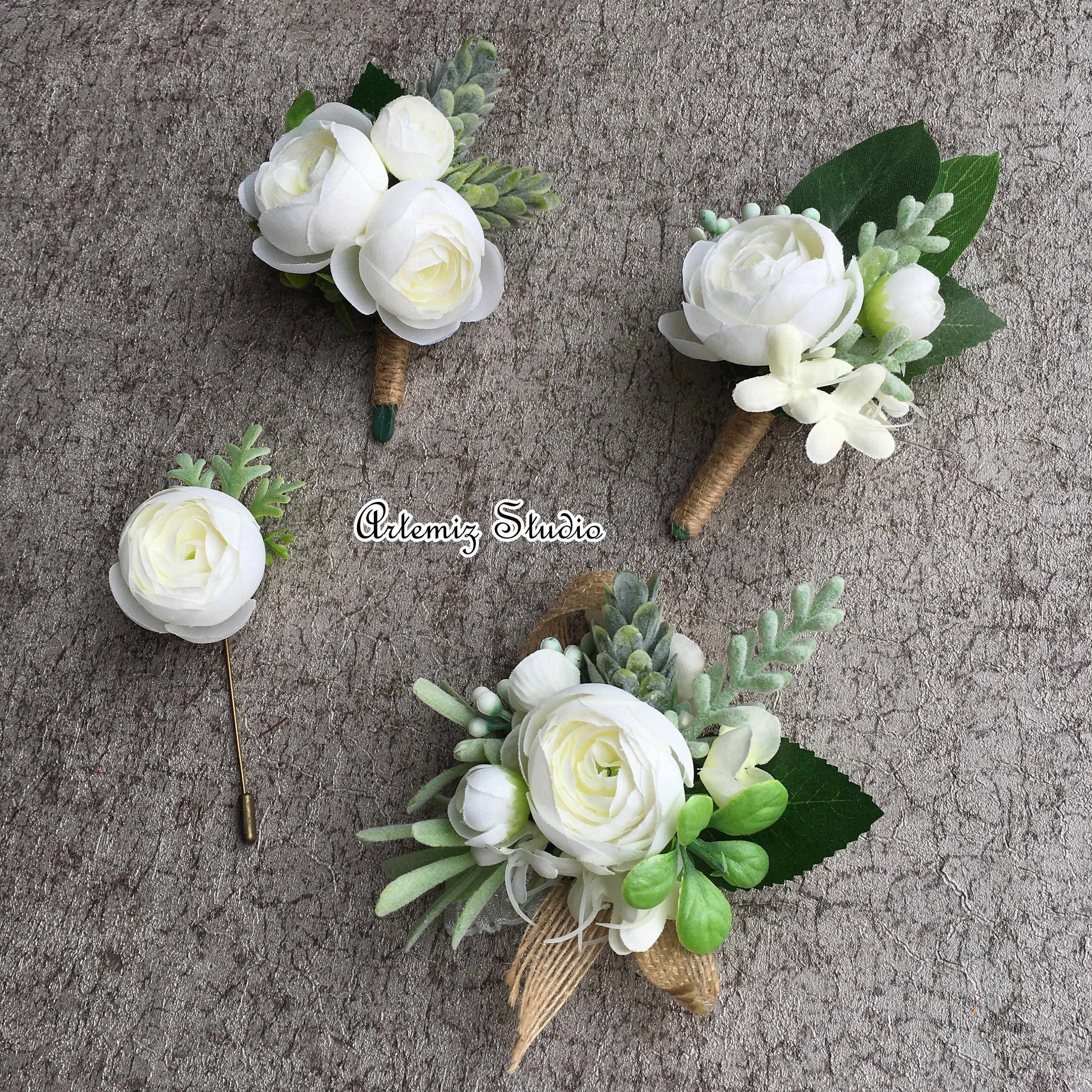 White Green Boutonniere Wrist Corsage Set Rustic Wedding