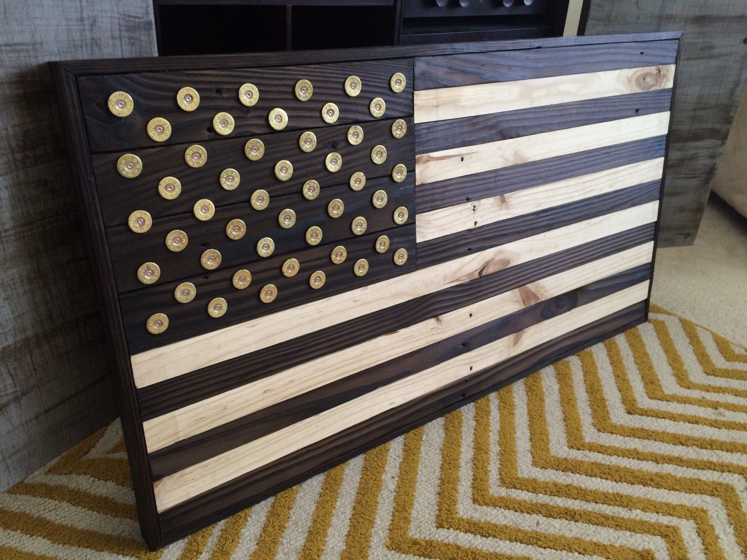 Reclaimed Wood American Flag Wall Art with Winchester Shotgun shell  Star  head st&s & Burned Wood American Flag with Winchester Shotgun shell