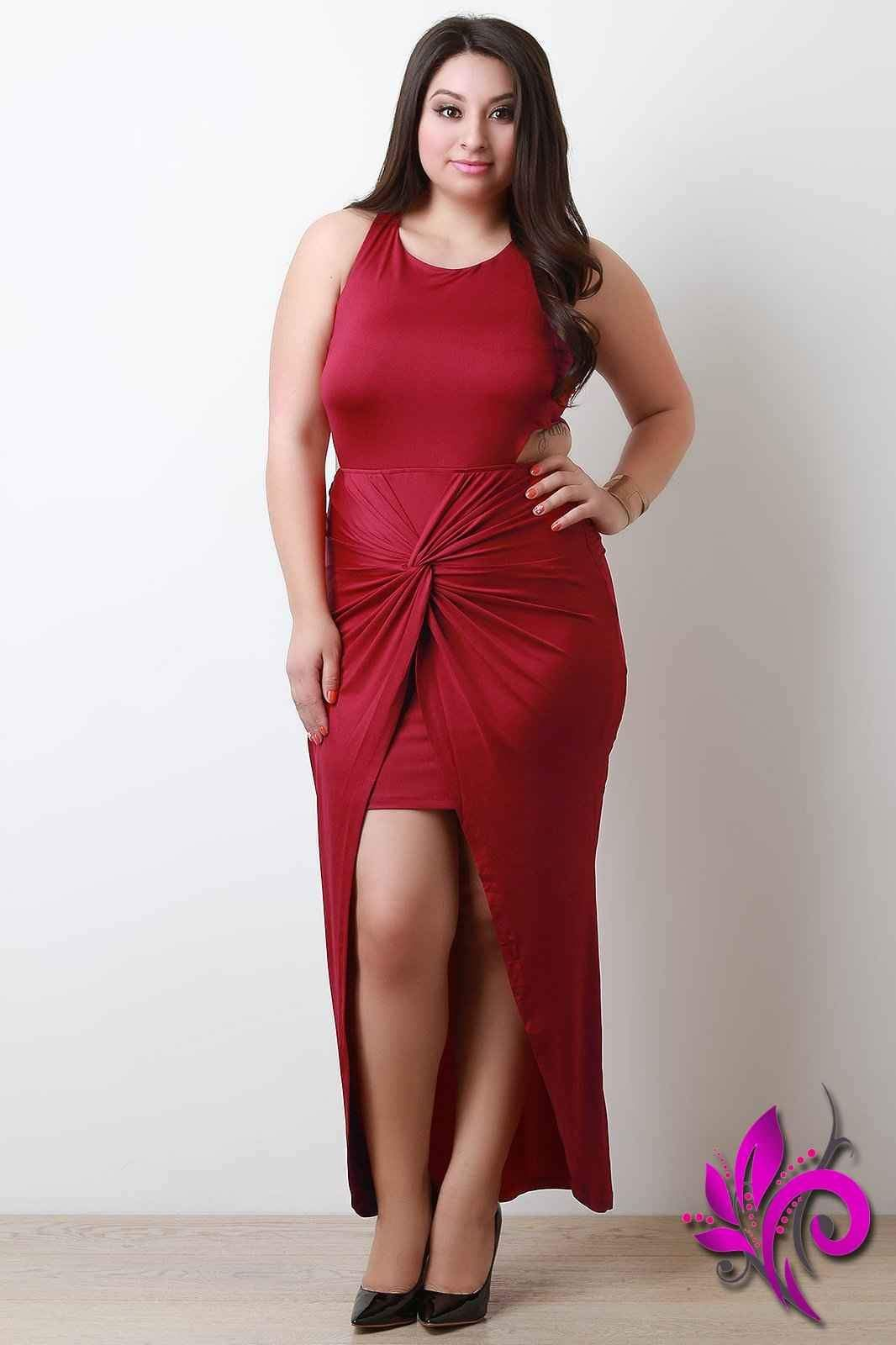 Side cutout knotted twist maxi dress products pinterest products