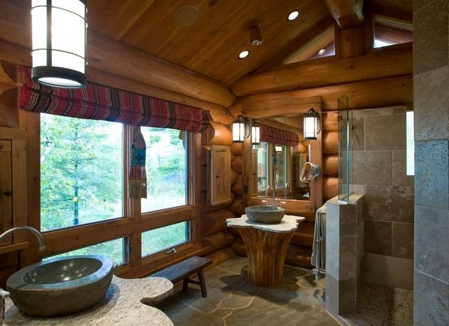 The tree stun sink is amazing Rustic Showers for Mountain
