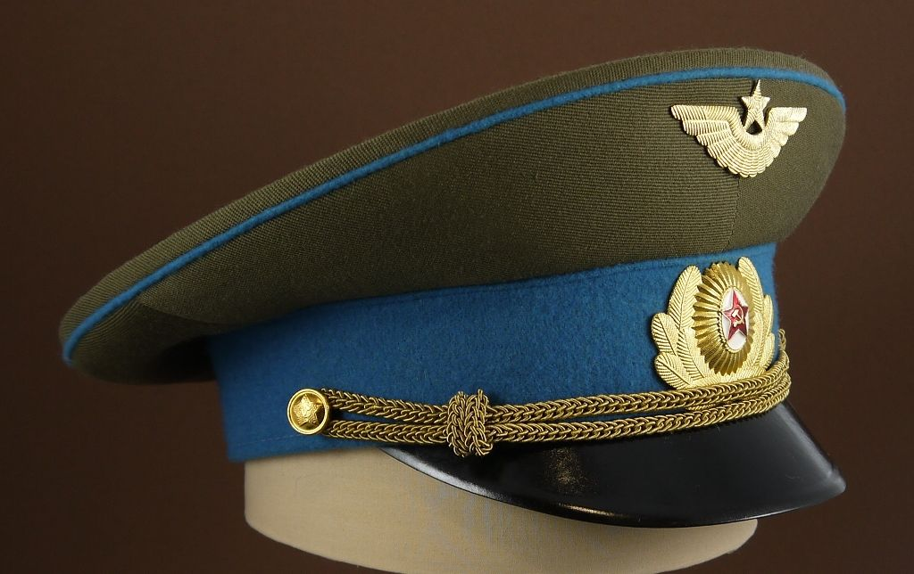 baaa29c9aa2 1975-1991 Soviet Air Force officers  service uniform visor cap ...
