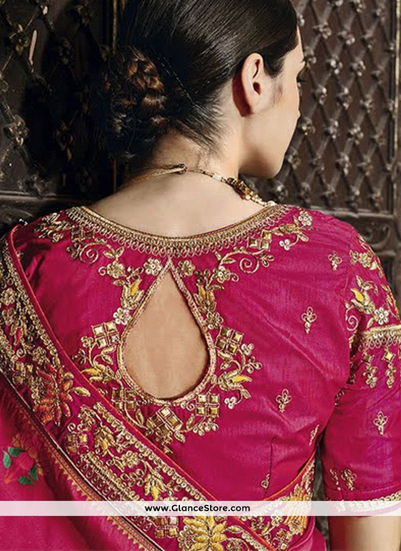 Wedding saree blouse design red topnotch weaving work designer traditional saree  embroidery