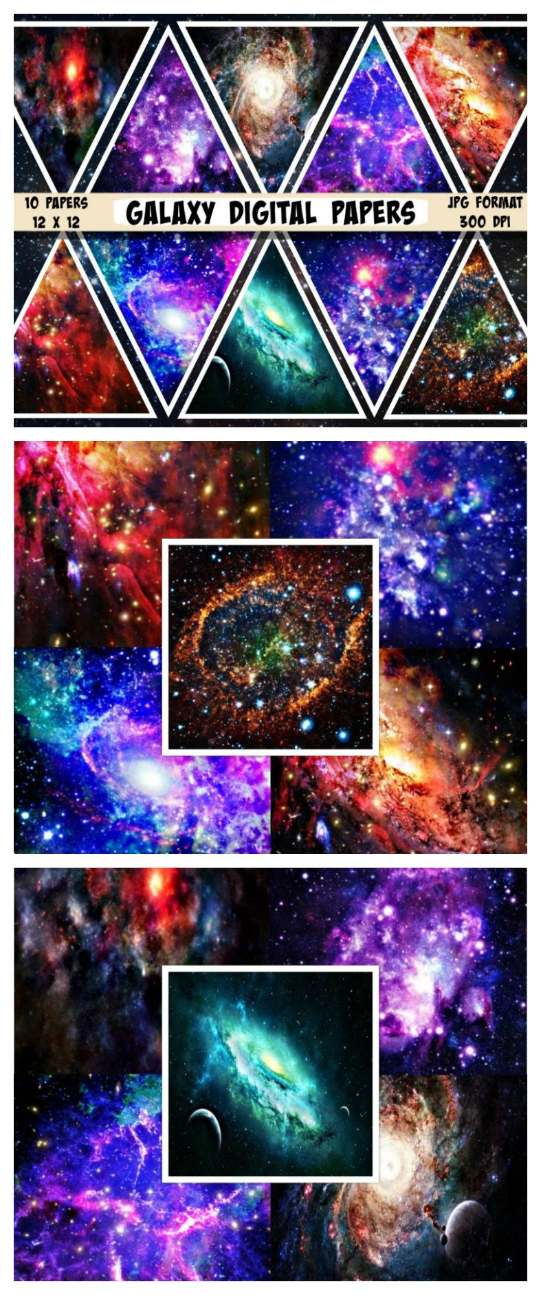 bb5c25459306b Galaxy digital paper, Galaxy Scrapbook paper, Space paper, Outer ...