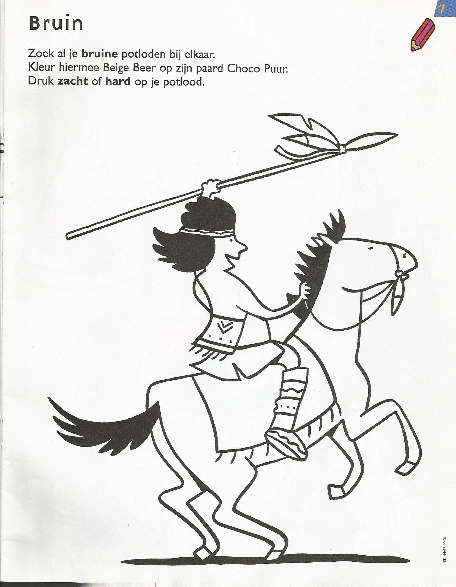 Kleurplaat Indiaan Thema Cowboys Indiaan