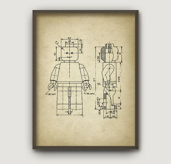 Lego Patent Poster 4 Aged Paper Style Print by RusticArtPrints | For ...