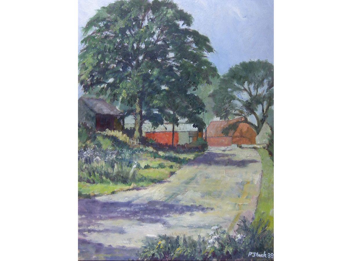 Barns On The Lane By P Slack Original Oil Painting On Board Nottinghamshire Artist Original Oil Painting Painting Online Art Gallery