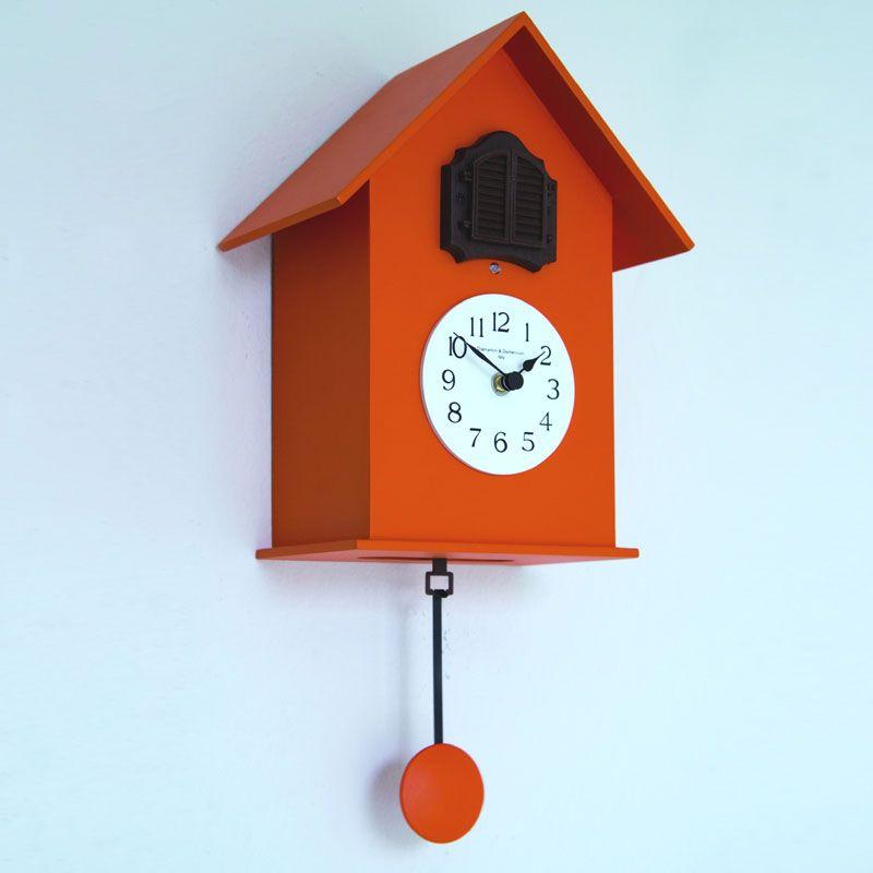 Orologio Cucu da muro in Legno con cassa in legno laccato Arancio ...