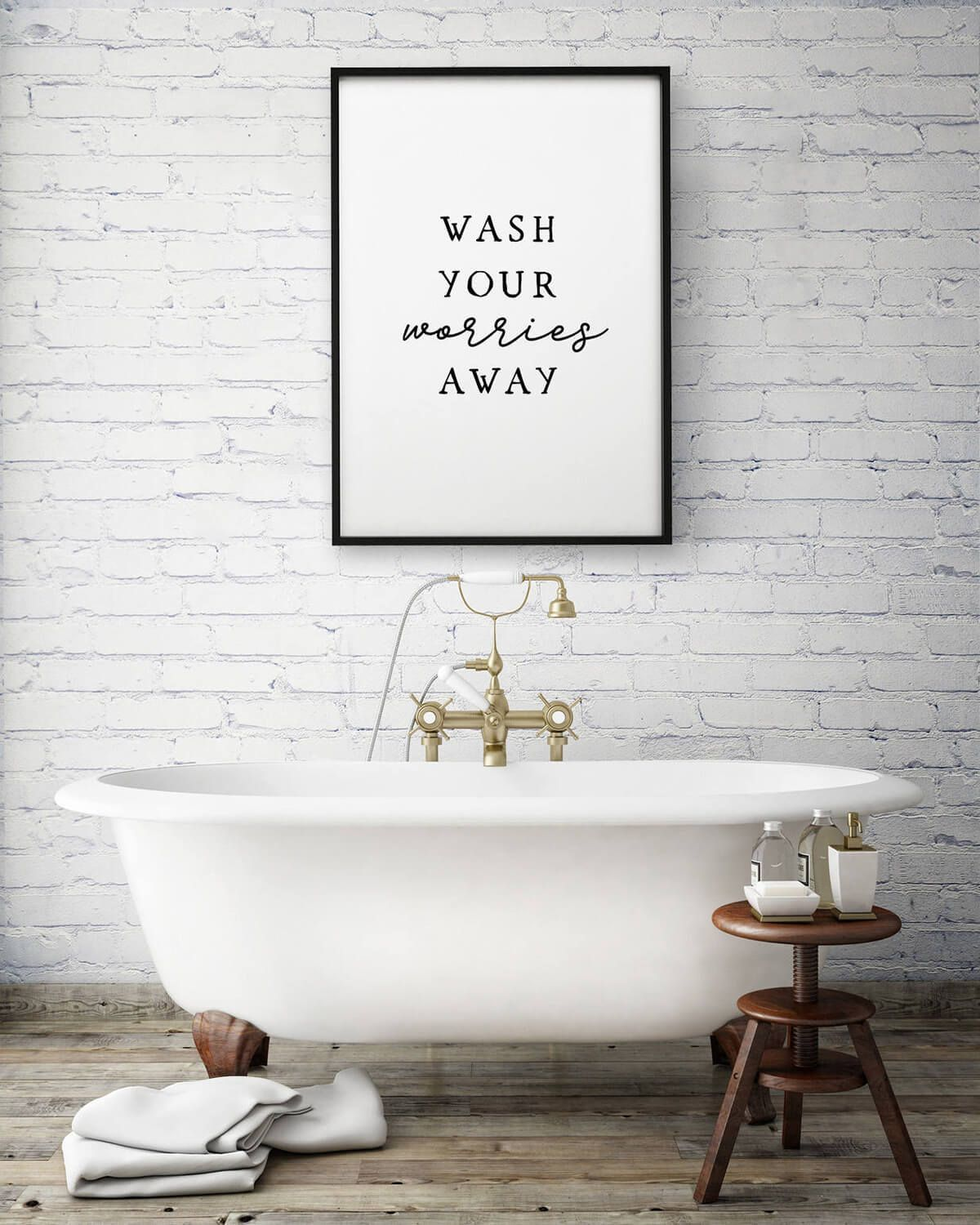 Wash Your Worries Away Wall Sign Guest Bathroom Decor Bathroom Art Prints Bathroom Prints