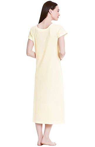 Del Rossa Women's Cotton Knit Nightgown, Long Short Sleeve Sleep Dress