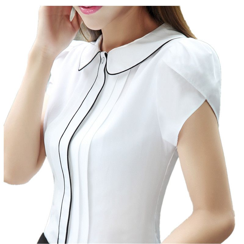 Fashion Korean Style Women Shirt Short Sleeve Patchwork Office Formal  Ladies Blusas Feminina White Blue Color 2017 Summer Tops 7ebcc3e3afadf