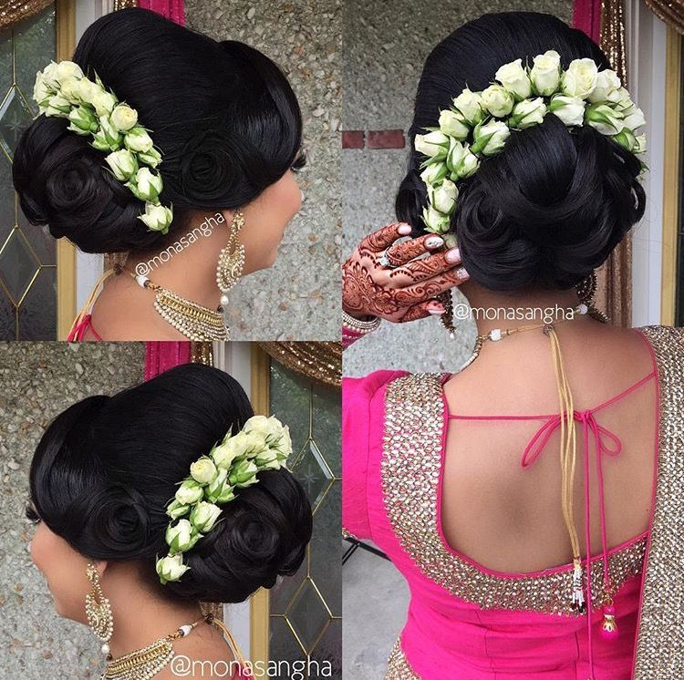 What A Beautiful Large Low Bun With Real Flower Gajra Care However Should Be Taken Before Adopting Suc Bridal Hairdo Long Hair Styles Indian Bridal Hairstyles