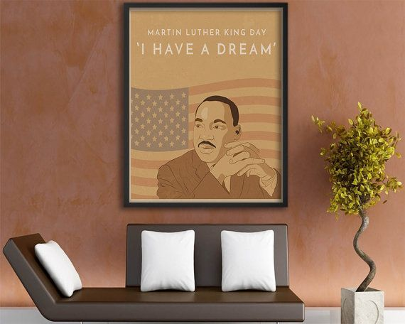 Martin Luther King Wall Art Print, MLK Jr Quote, MLK Retro Poster Print, Mlk Jr Day, African American History, Vintage Poster Wall Art Print