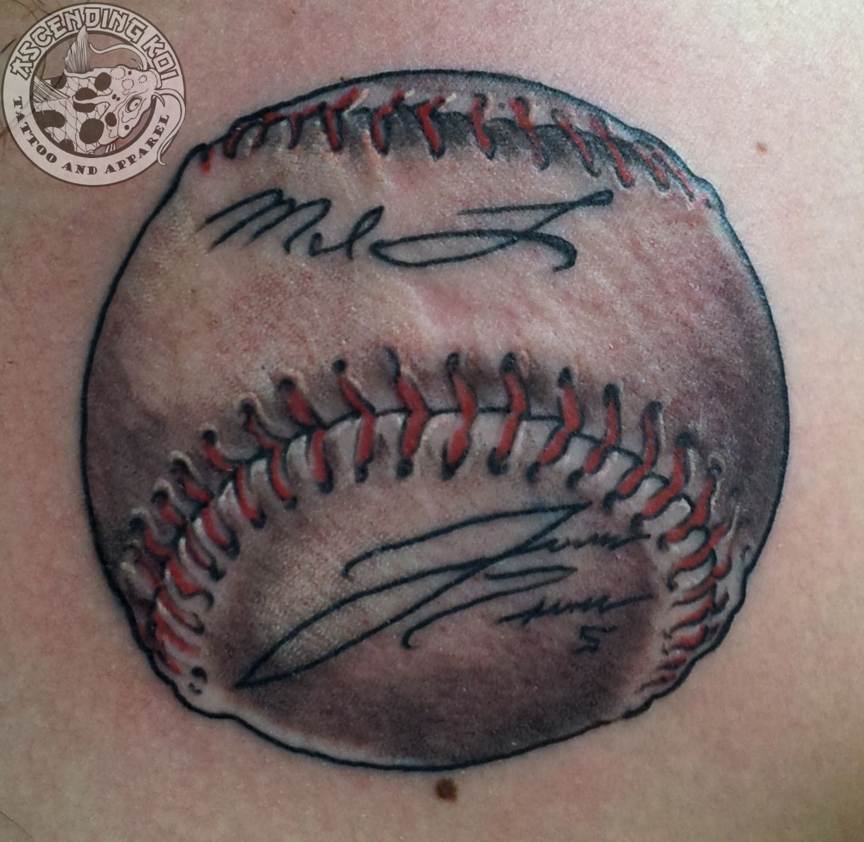 Autographed Baseball Done By Rob Sweet Ascendingkoi Calgarytattoos Tattoos Sports Sportstattoos Baseball Baseb Baseball Tattoos Softball Tattoos Tattoos