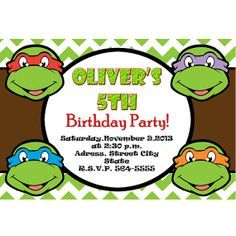 teenage mutant ninja turtles party printables Google Search Boys