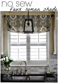 Pendant light over sink and roman shade for window … | windows | Pinte…