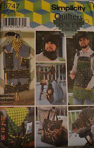 Simplicity Pattern #5747 Quilters Fabric just for your GUY, apron, log carrier, tool organizer, face warmer, and more!