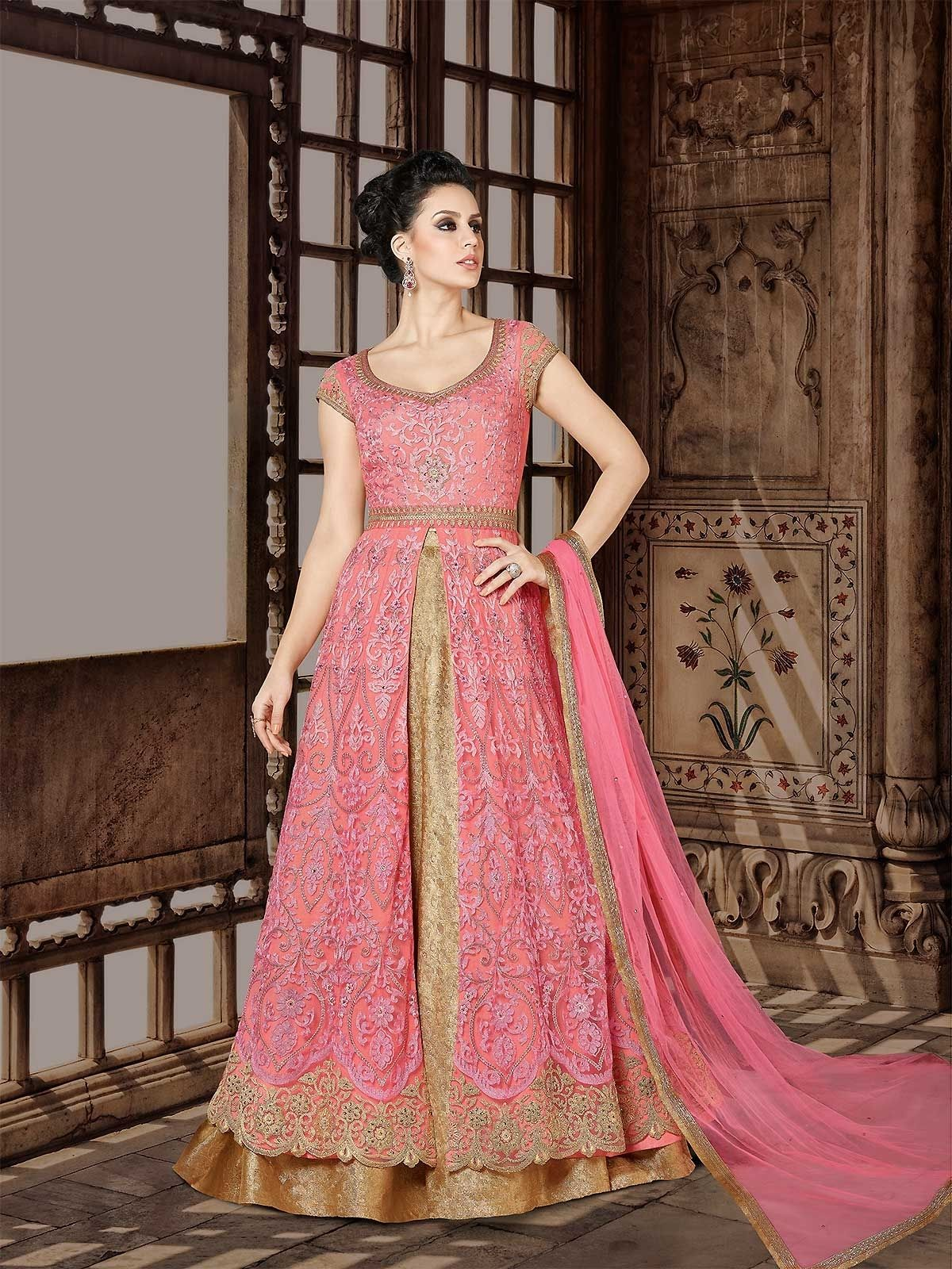 Shop bollywood pink designer indian anarkali dress with dupatta and ...