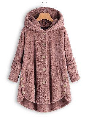 48d721232 Hooded Decorative Buttons Plain Coat Chaqueta Elegantes, Ropa Navideña,  Vestidos Con Chaqueta, Ropa