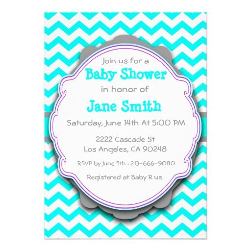 White gray turquoise chevron baby shower invite