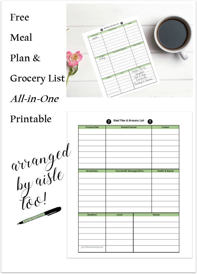 Free Printable Menu Planner And Grocery List  Free Printable Meal