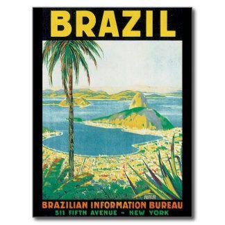 Brazil Vintage Travel Poster Postcard Poster Vintage Grafici