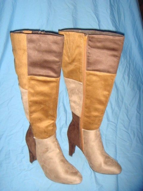 Women's Cato Tan Patchwork High Heel Knee Boots  Size-11  New