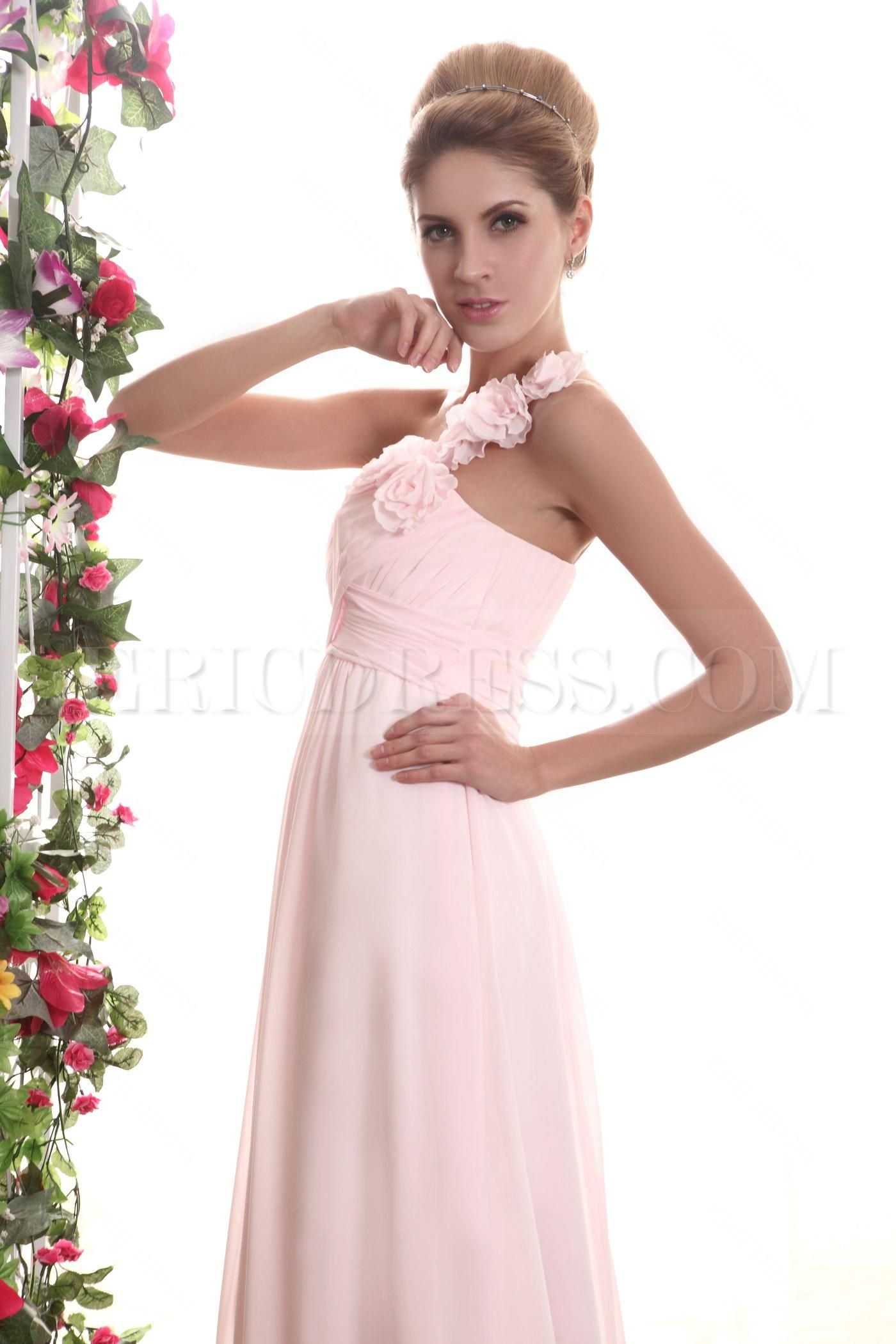 Pretty ruched aline flowers floorlength bridesmaid dress pink