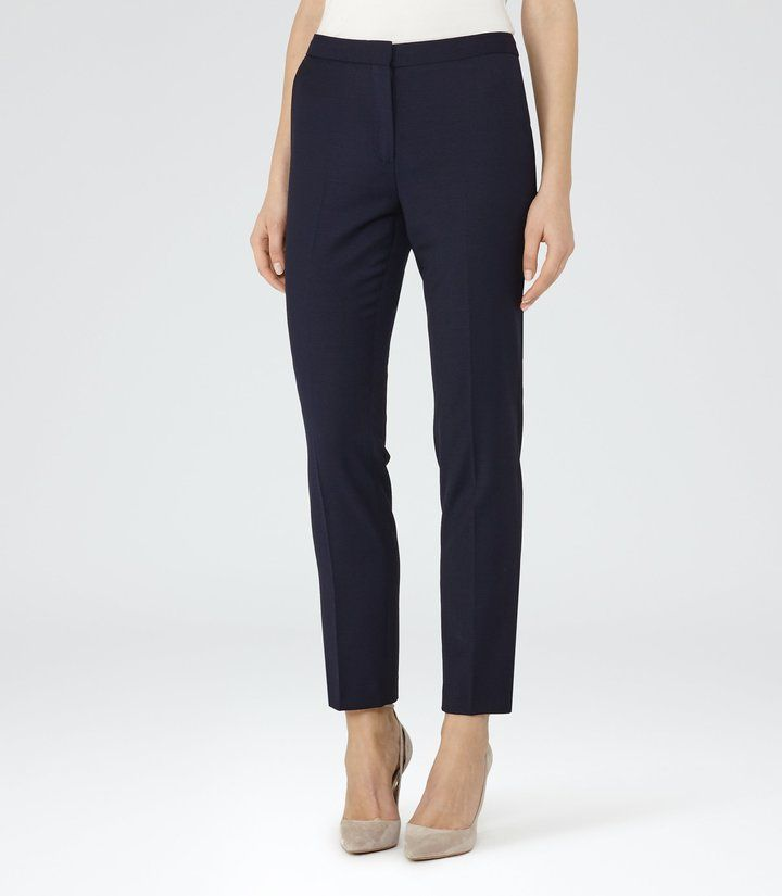 Darlas - Skinny Jacquard-pattern Tailored Trousers in Night Navy, Womens, Size 10 Reiss