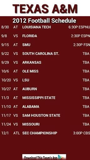 2012 Texas A M Football Schedule Inaugural Season In The Southeastern Conference Good Memories Her Texas Aggies Football Texas A M Football Aggie Football