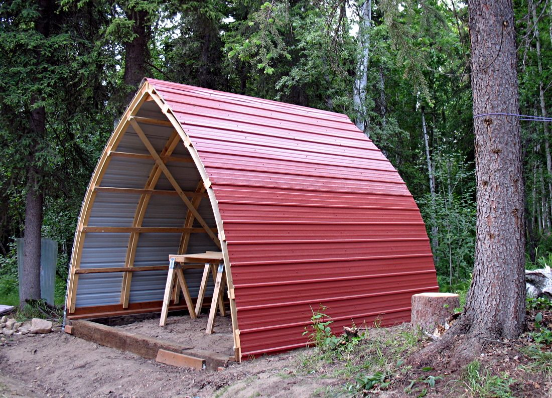 An awesome bow roof shed diy pole barns pinterest for Shed roof tiny house